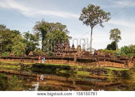 Tourist at Banteay Srei ia ancient temple of Khmer Siem Reap Cambodia.
