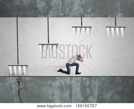 Businessman runs into a dangerous trap. Difficulty business career concept