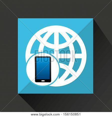 smartphone global social network media icon vector illustration eps 10