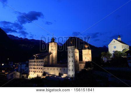 Stockalper castle of Brig at twilight Switzerland