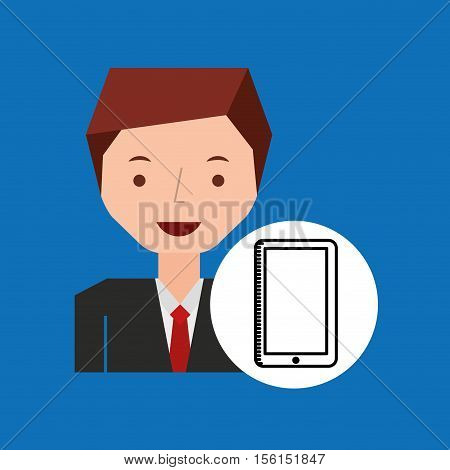 character hand draw smartphone icon vector illustration eps 10