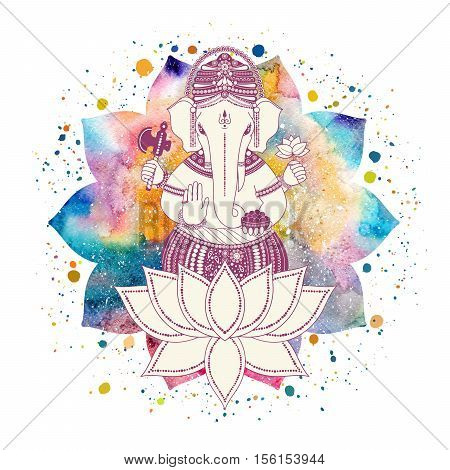 Ganesha or Ganapati Indian deity in the Hindu. On watercolor lotus flower with paint splash illustration for design of prints web festive Chaturthi invitations.