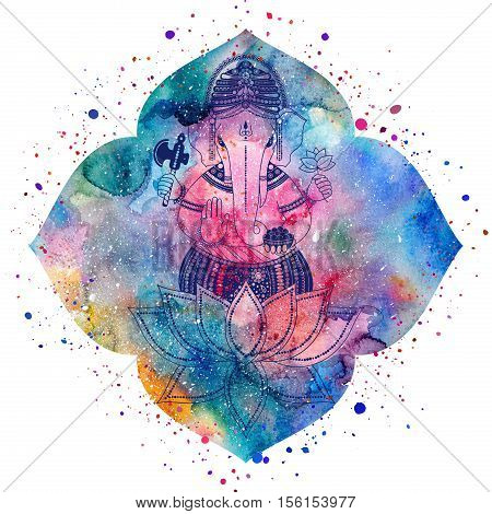 Ganesha or Ganapati Indian deity in the Hindu. Silhouette on a watercolor lotus flower with paint splash illustration for design of prints web festive Chaturthi invitations.