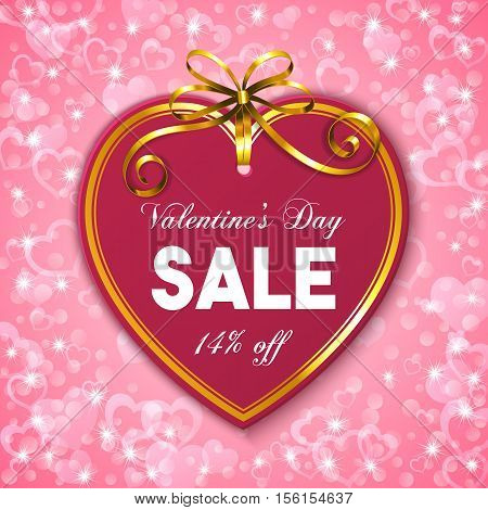 Valentines day sale banner. Heart shaped tag with golden ribbon and bow. Vector illustration.