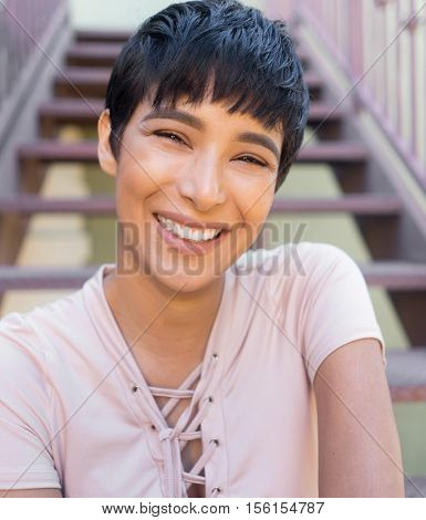 Modern woman portrait - happy smiling expression