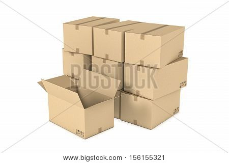 3d rendering of a pile of light beige mail cardboard boxes put together and one opened box standing in front of them, isolated on the white background, three quarters view. Postal services. Packing and crating. Storage of different products.