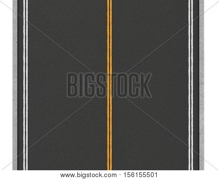 3d rendering of alonely two-way asphalt road, isolated on a white background, top view. Road markings and signs. New horizons and opportunities. An unfamiliar path. Travel concept  illustration.