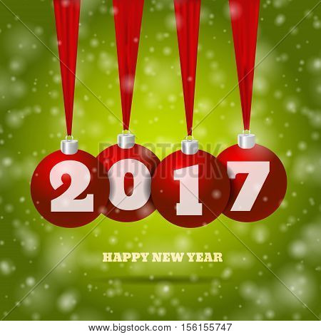 New Year Background With Red Balls And Green Bg Eps 10 Vector Illustration