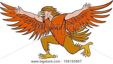Illustration of a Lleu or Lleu Llaw Gyffes half man half eagle spreading wings viewed from the side on isolated white background done in cartoon style.