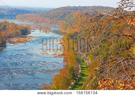 Aerial view on Shenandoah River and Blue Ridge Mountains in Harpers Ferry West Virginia USA. Colorful autumn landscape from a scenic outlook.