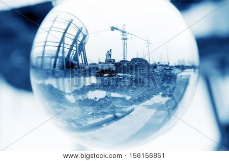 See through the glass ball on construction sites