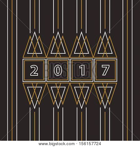 2017 Happy New Year abstract line art greeting card on black background.