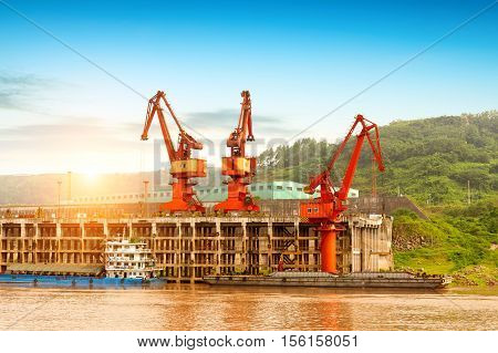 China's Yangtze River freight dock and cranes.