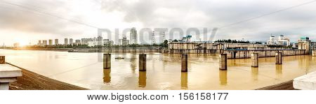 The famous Gezhouba large water conservancy in China's Yangtze River(Panorama)