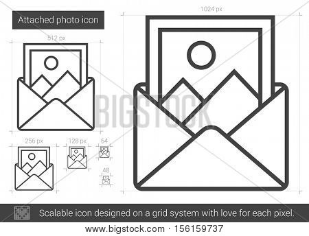 Attached photo vector line icon isolated on white background. Attached photo line icon for infographic, website or app. Scalable icon designed on a grid system.
