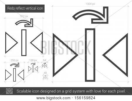 Redo reflect vertical vector line icon isolated on white background. Redo reflect vertical line icon for infographic, website or app. Scalable icon designed on a grid system.