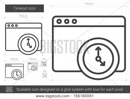 Timeout vector line icon isolated on white background. Timeout line icon for infographic, website or app. Scalable icon designed on a grid system.