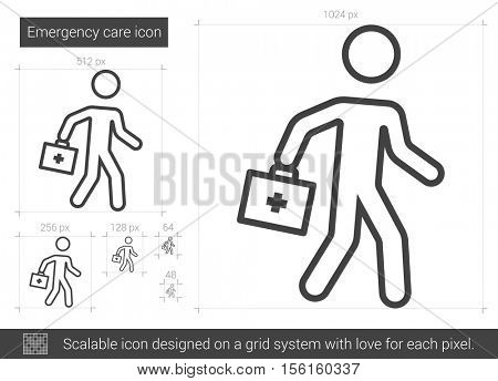 Emergency care vector line icon isolated on white background. Emergency care line icon for infographic, website or app. Scalable icon designed on a grid system.