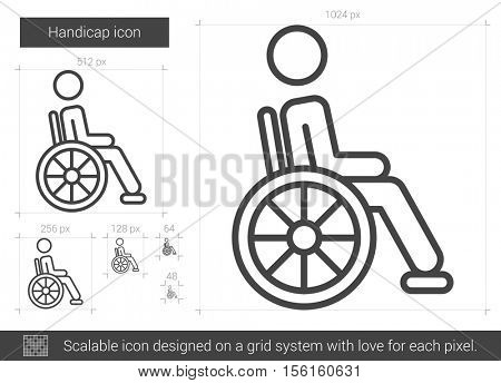 Handicap vector line icon isolated on white background. Handicap line icon for infographic, website or app. Scalable icon designed on a grid system.