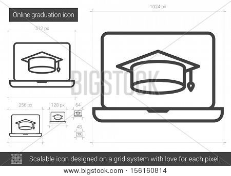 Online graduation vector line icon isolated on white background. Online graduation line icon for infographic, website or app. Scalable icon designed on a grid system.