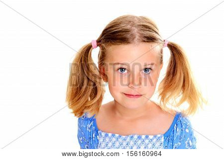 Little Blond Girl With Pigtails