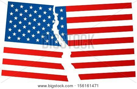Broken Flag Of Usa - Vector Illustration