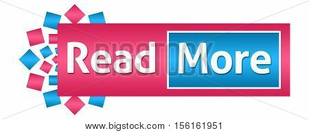 Read more text written over pink blue background.