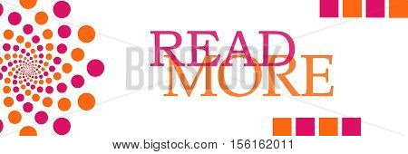 Read more text written over pink orange background.