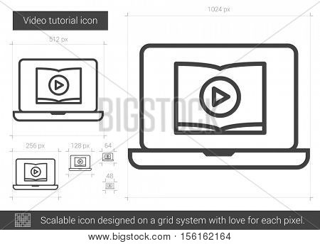 Video tutorial vector line icon isolated on white background. Video tutorial line icon for infographic, website or app. Scalable icon designed on a grid system.