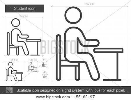Student vector line icon isolated on white background. Student line icon for infographic, website or app. Scalable icon designed on a grid system.