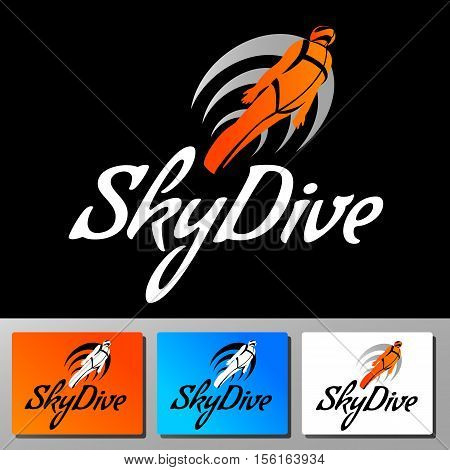 Skydive wings vector logo. Colorfull icon flat style. Winged people fly in the sky.