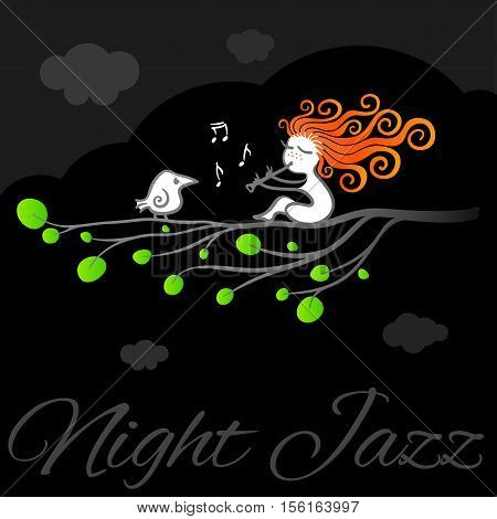 Red-haired girl plays jazz flute in the night for the white crow. Night jazz vector art poster.