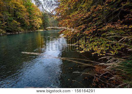 Autumn Tara river canyon in Montenegro .