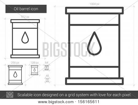 Oil barrel vector line icon isolated on white background. Oil barrel line icon for infographic, website or app. Scalable icon designed on a grid system.
