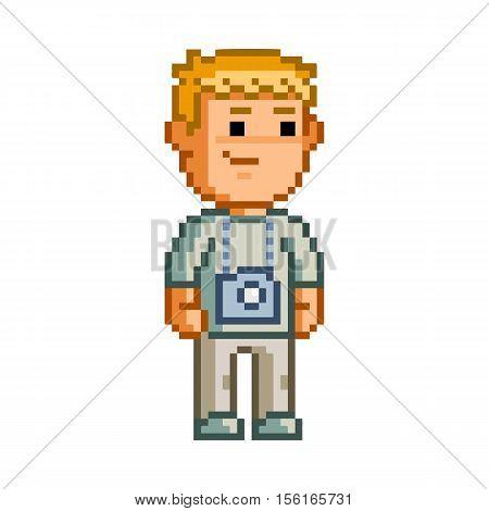 Vector 8-bit pixel art photographer. Funny man.