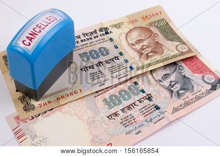 India Canceled Banknote. India Rupee 500 And 1000 Banknote Declared Illegal. 500 And 1000 Rupee Note