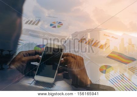 Double Exposure Of Business Concept