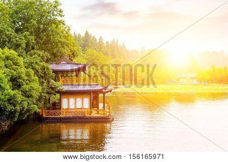 Traditional ship at the Xihu (West lake) Hangzhou China