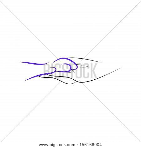 Paw dogs in the hands of man the logo for the protection of animals. Abstract image vector
