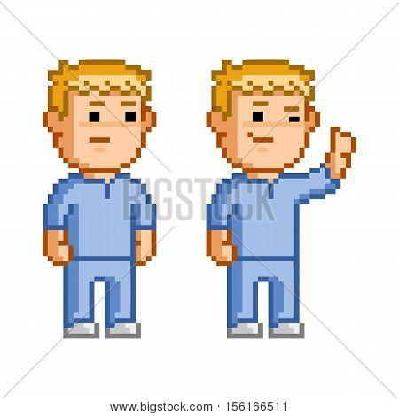 Vector 8 bit pixel set of doctors and surgeons.