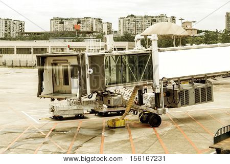 Boarding Bridge at Shanghai Pudong International Airport.