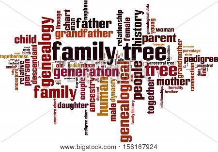Family tree word cloud concept. Vector illustration