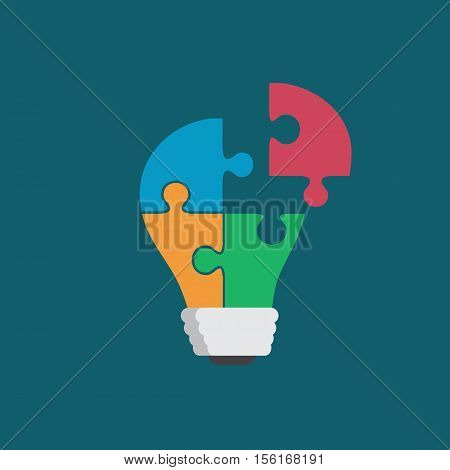 Colorful light bulb consisting of puzzle pieces isolated. Idea, business, solution, work, insight, brainstorm concept