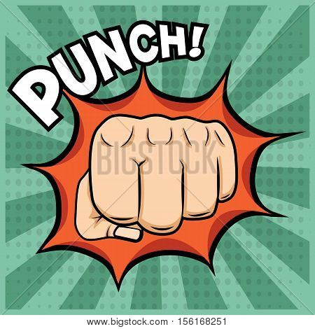 Vector fist punching illustration in pop-art style on vintage background.