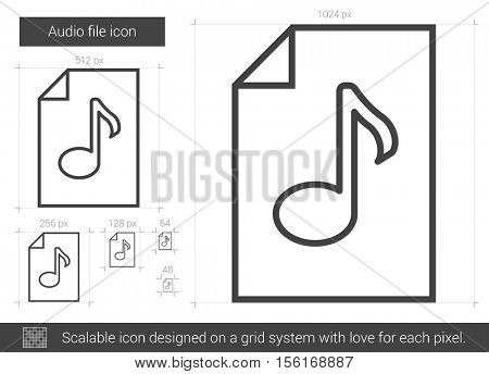 Audio file vector line icon isolated on white background. Audio file line icon for infographic, website or app. Scalable icon designed on a grid system.