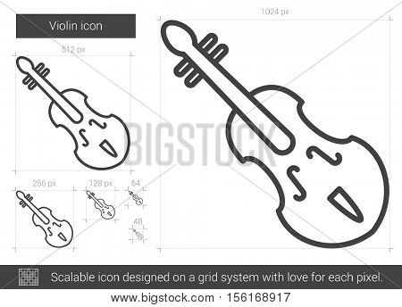 Violin vector line icon isolated on white background. Violin line icon for infographic, website or app. Scalable icon designed on a grid system.