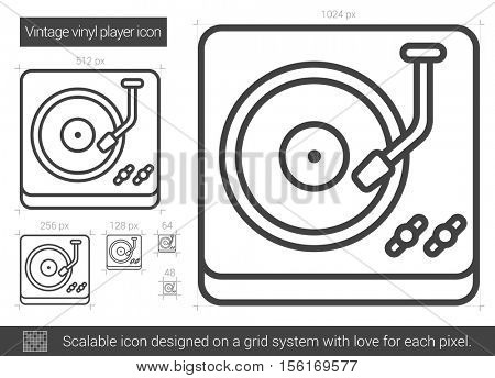 Vintage vinyl player vector line icon isolated on white background. Vintage vinyl player line icon for infographic, website or app. Scalable icon designed on a grid system.