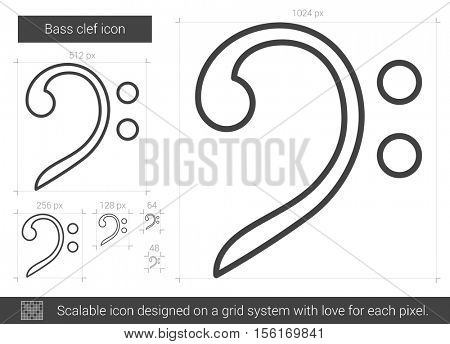Bass clef vector line icon isolated on white background. Bass clef line icon for infographic, website or app. Scalable icon designed on a grid system.