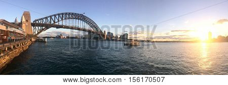 Sydney Harbour Bridge At Sunset Sydney Australia