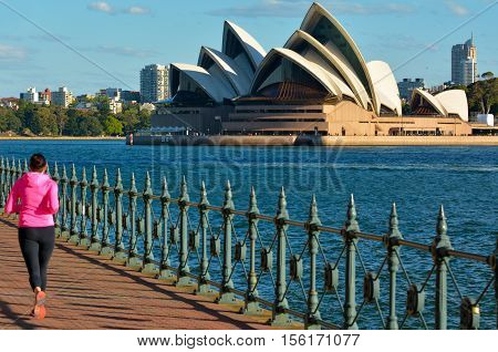 Woman Runs Against Sydney Opera House New South Wales Australia